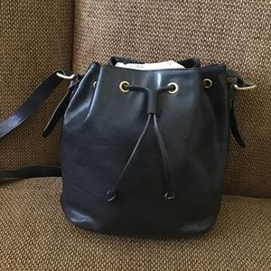 Black Fossil Bucket Bag drawstring